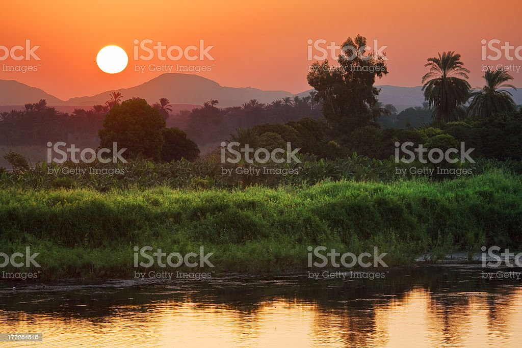The Nile sunrise scenery stock photo