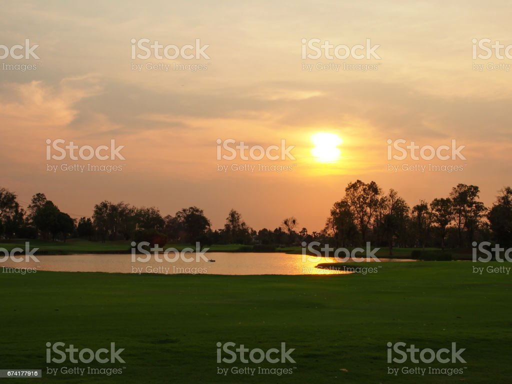 The normal nature in daily life, evening sunset on the yard. stock photo