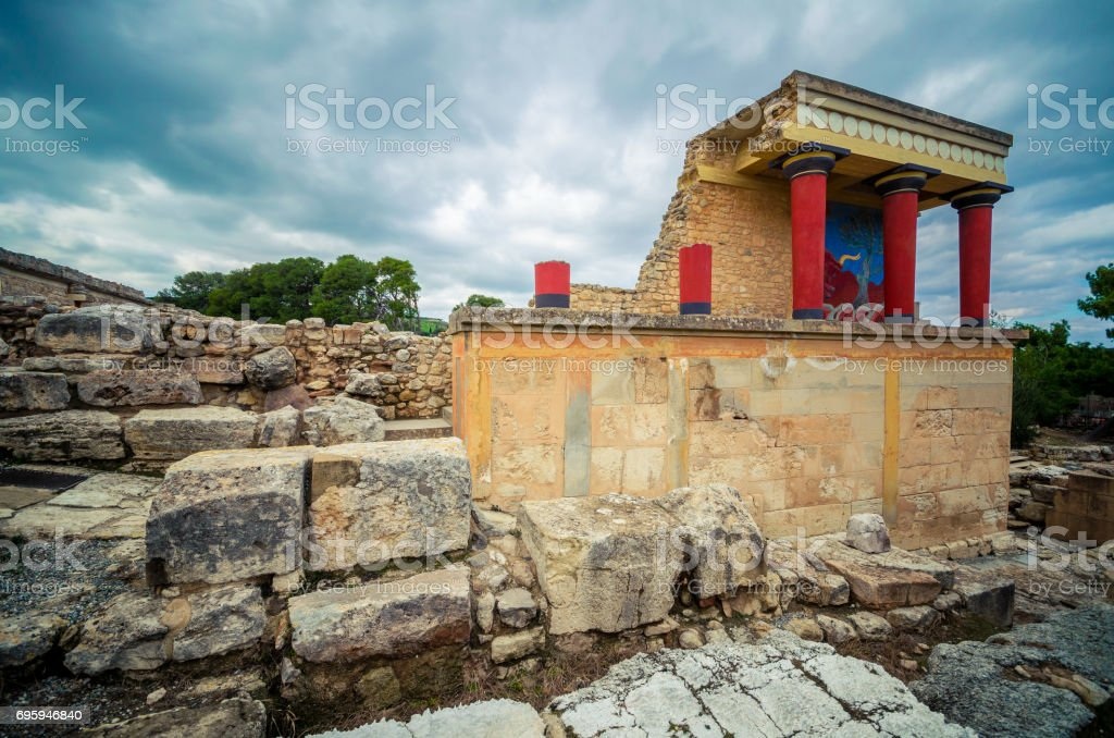 The North Entrance of the Palace with charging bull fresco in Knossos at Crete, Greece stock photo