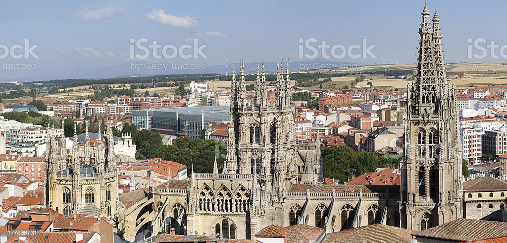 The North Face of Burgos Gothic Cathedral. Spain stock photo