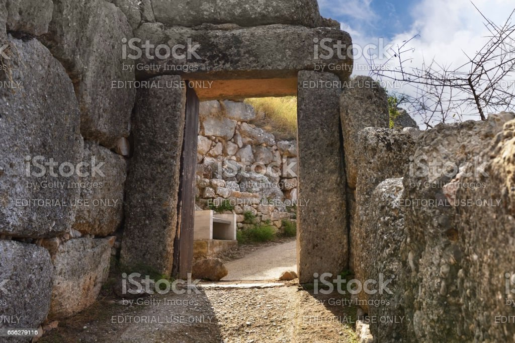 The North Gate in ancient Mycenae, Greece stock photo