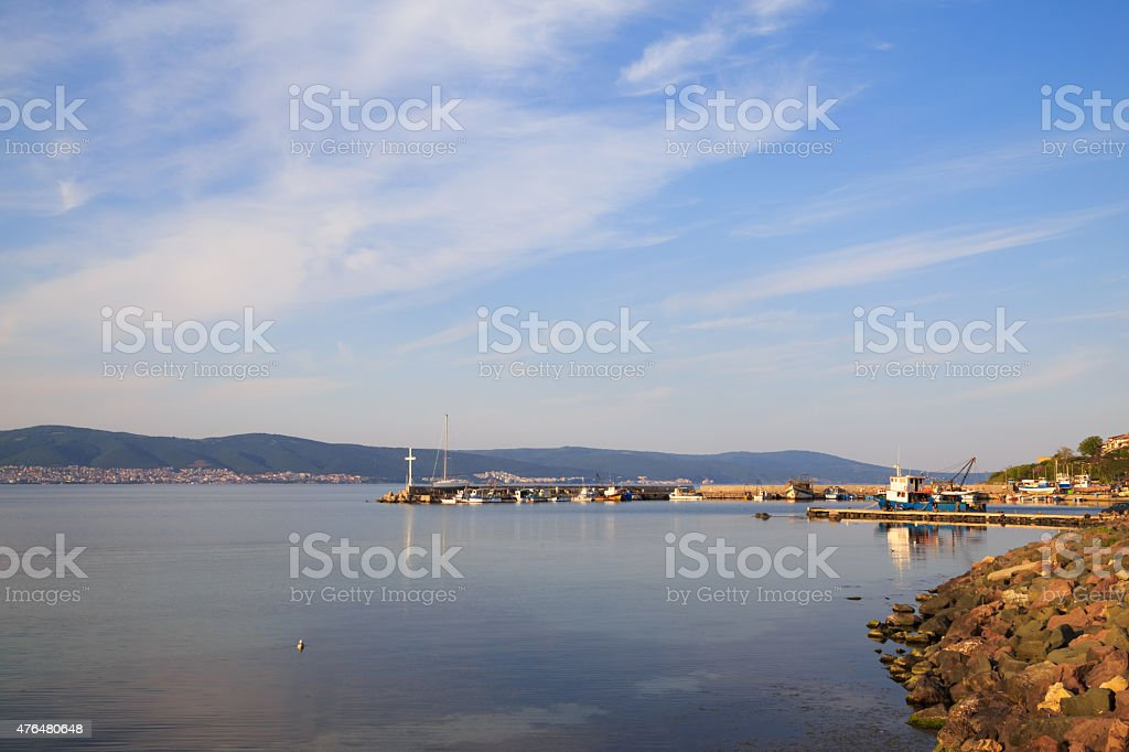 The north harbor of the old town of Nessebar, Bulgaria stock photo