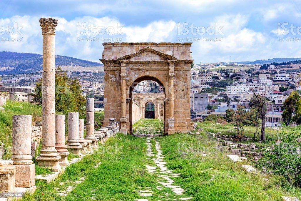 The north Tetrapylon in Jerash stock photo