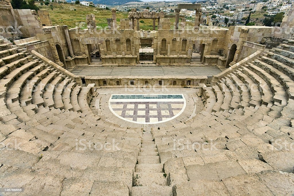 The North Theatre in Jerash stock photo