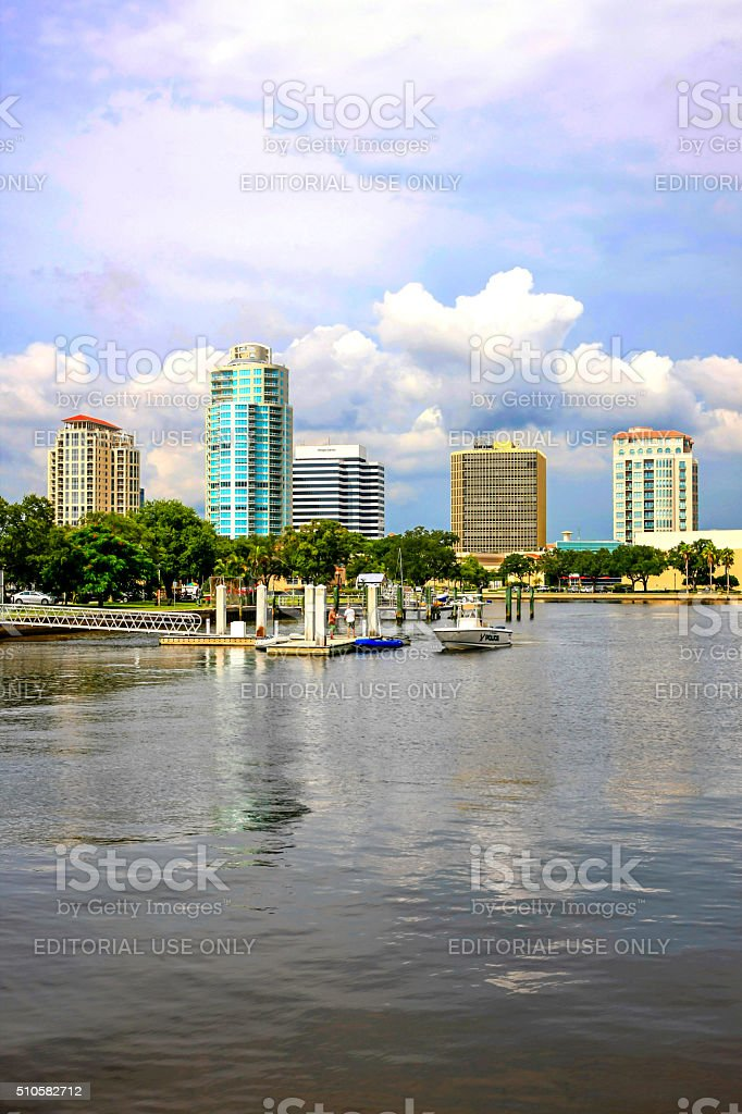 The North Yacht Basin in St. Petersburg Florida stock photo