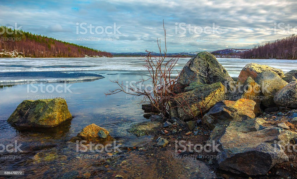 The Northern nature in the spring stock photo