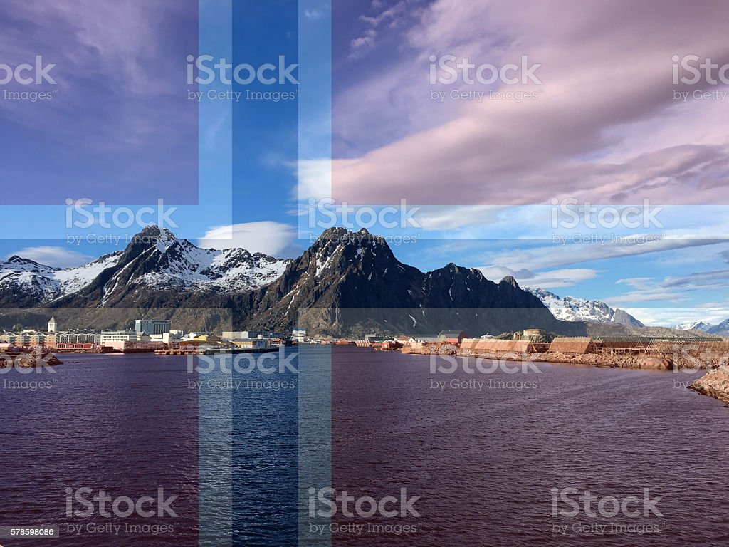 The Norwegian flag over a picture. photo libre de droits