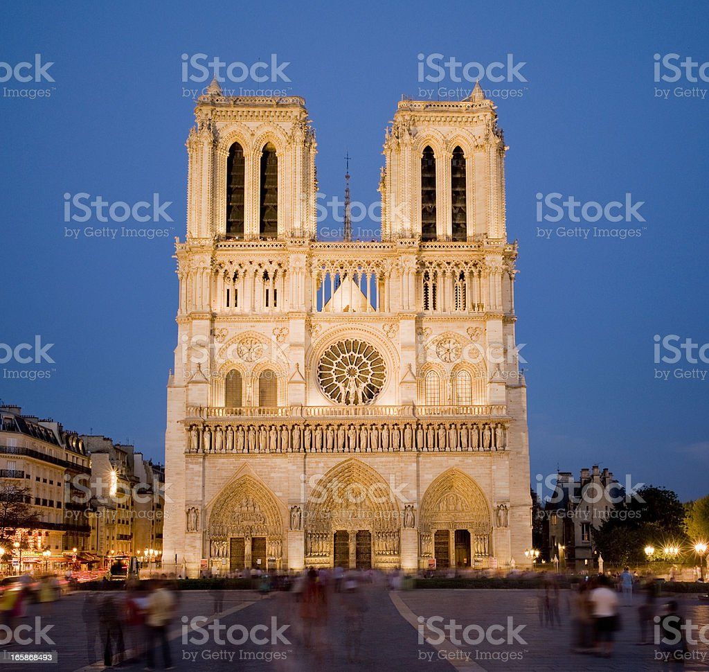 The Notre Dame Cathedral at Night in Paris France royalty-free stock photo