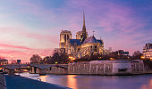 The Notre Dame cathedral  at night, Paris, France.