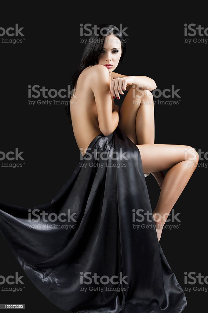 the nude cute sexy woman over black with arm royalty-free stock photo