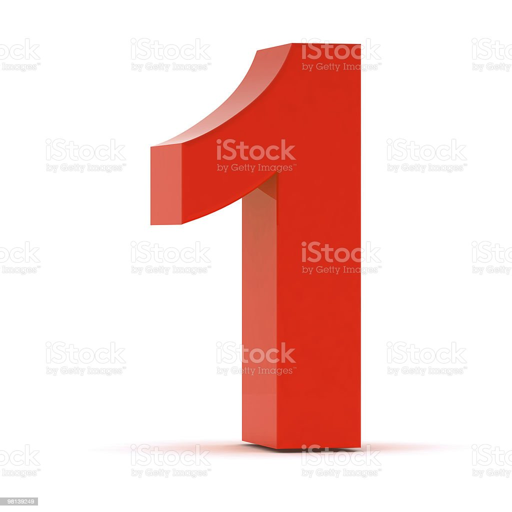 The Number 1 - Red Plastic stock photo