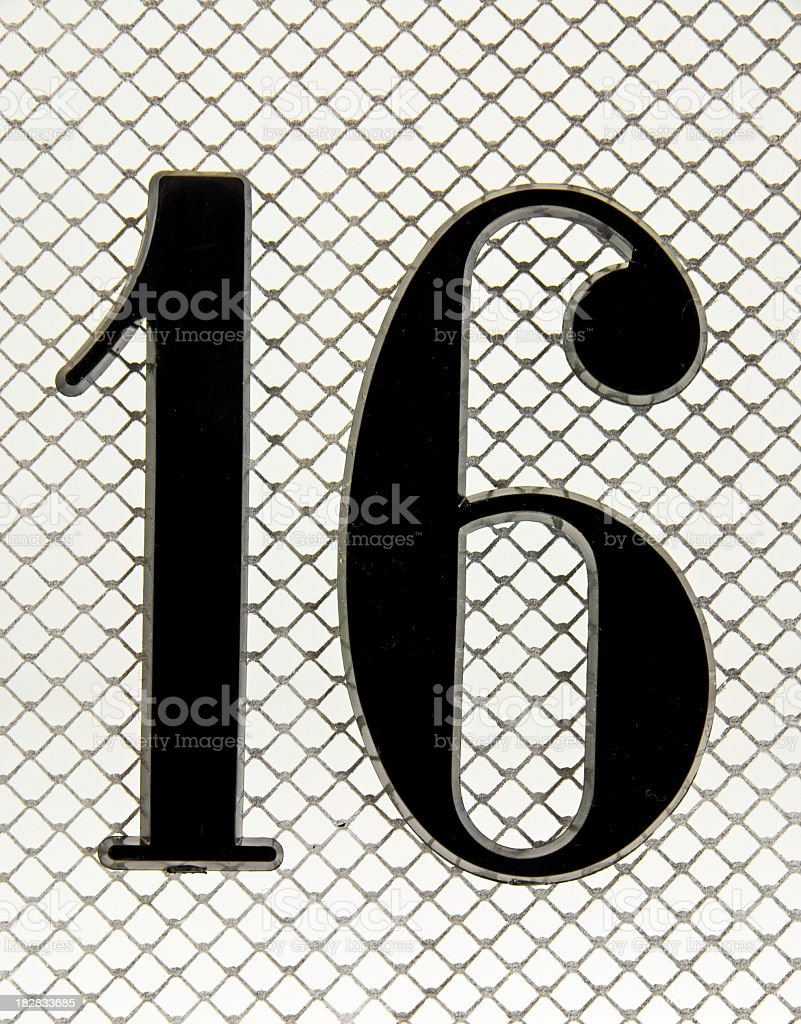 The Number 16 on Mesh stock photo