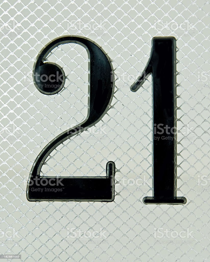The Number 21 on Mesh stock photo