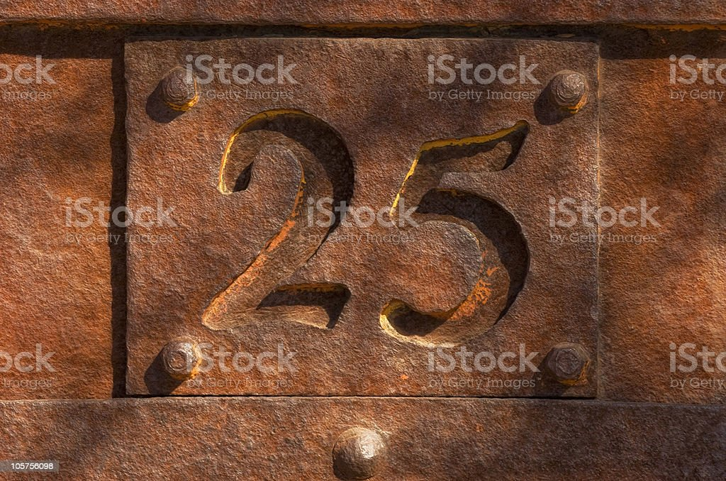 The Number 25 royalty-free stock photo