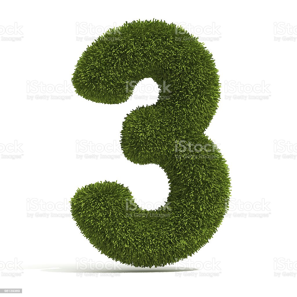 The Number 3 - Grass royalty-free stock photo