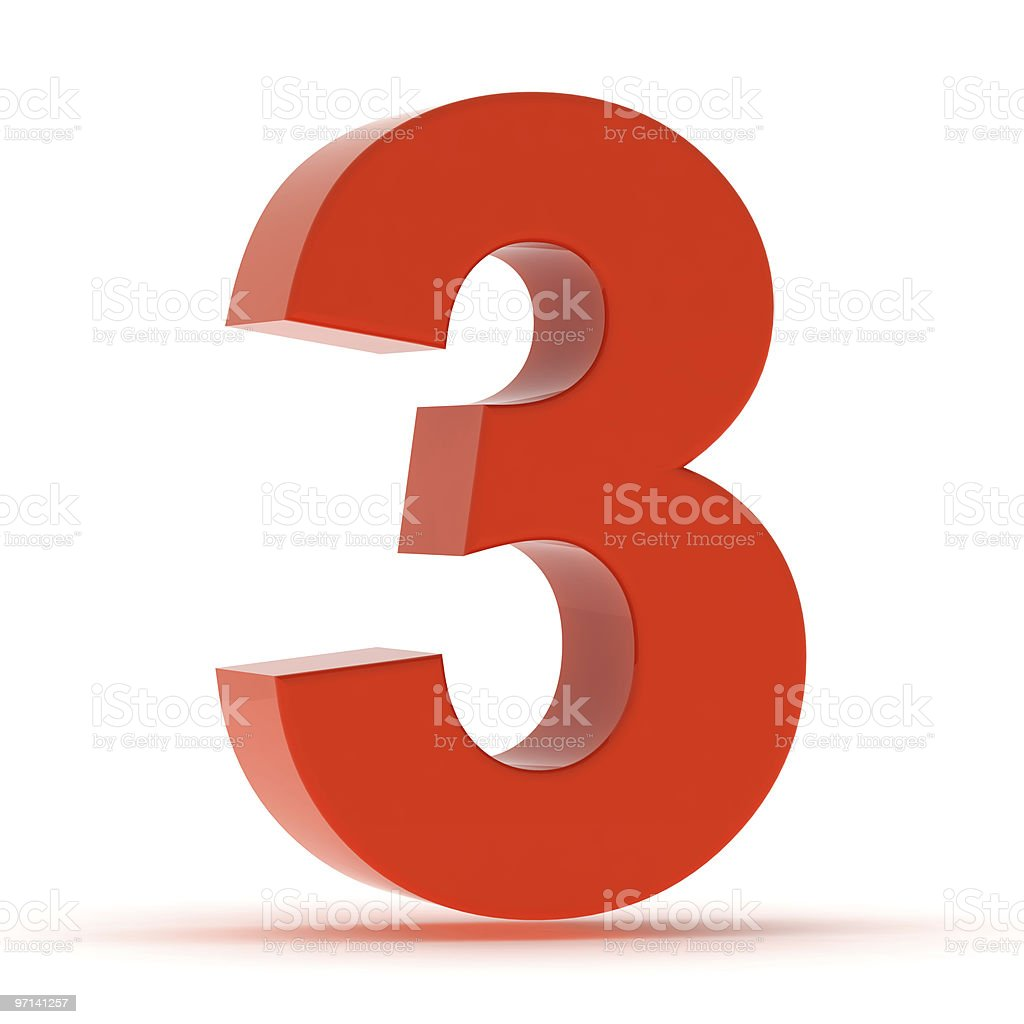 The Number 3 - Red Plastic stock photo