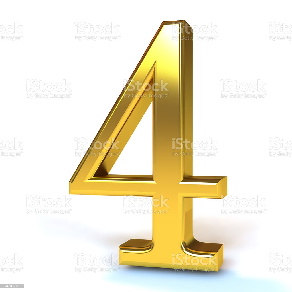 The Number 4 - Gold royalty-free stock photo