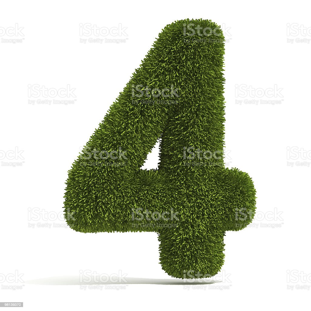 The Number 4 - Grass royalty-free stock photo
