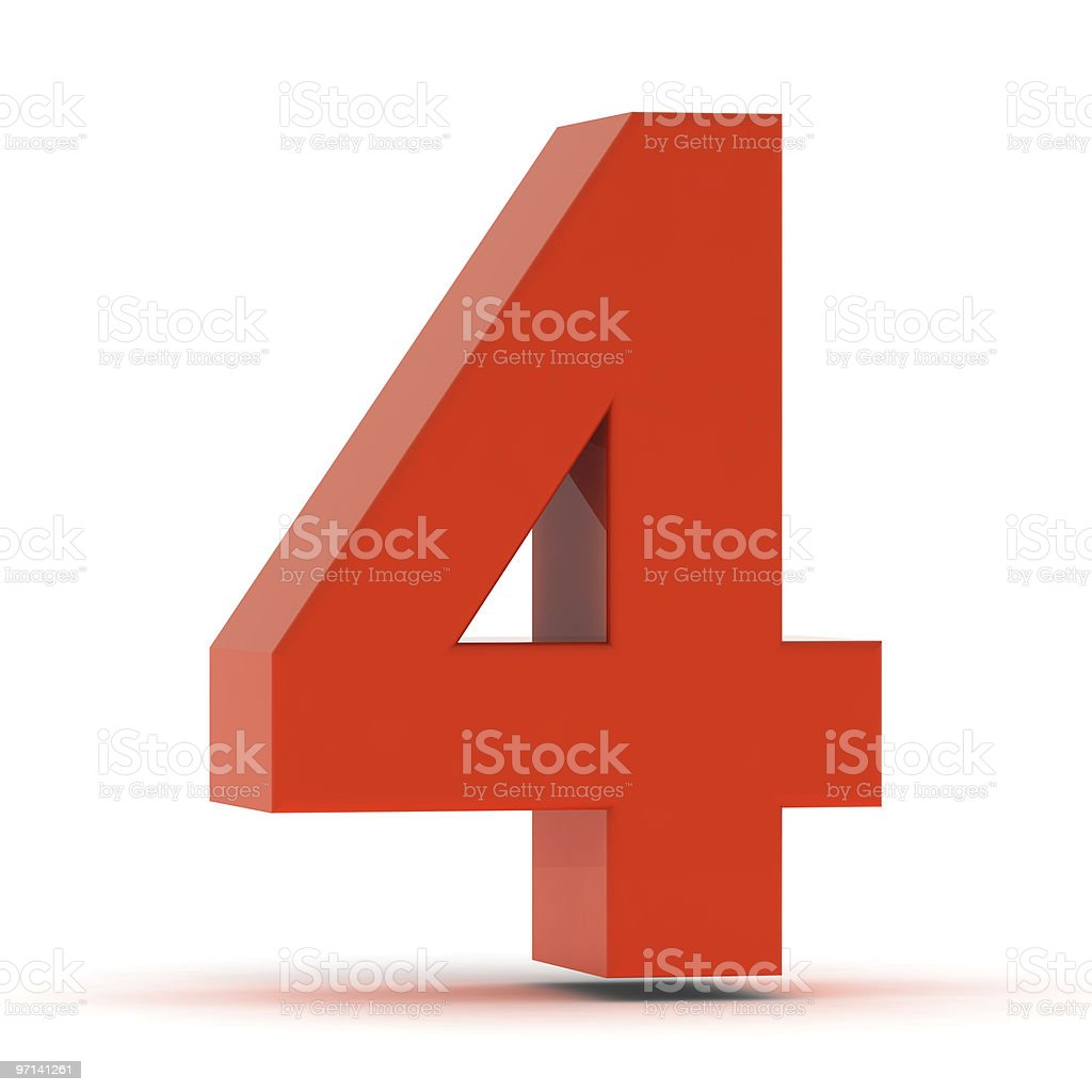 The Number 4 - Red Plastic royalty-free stock photo
