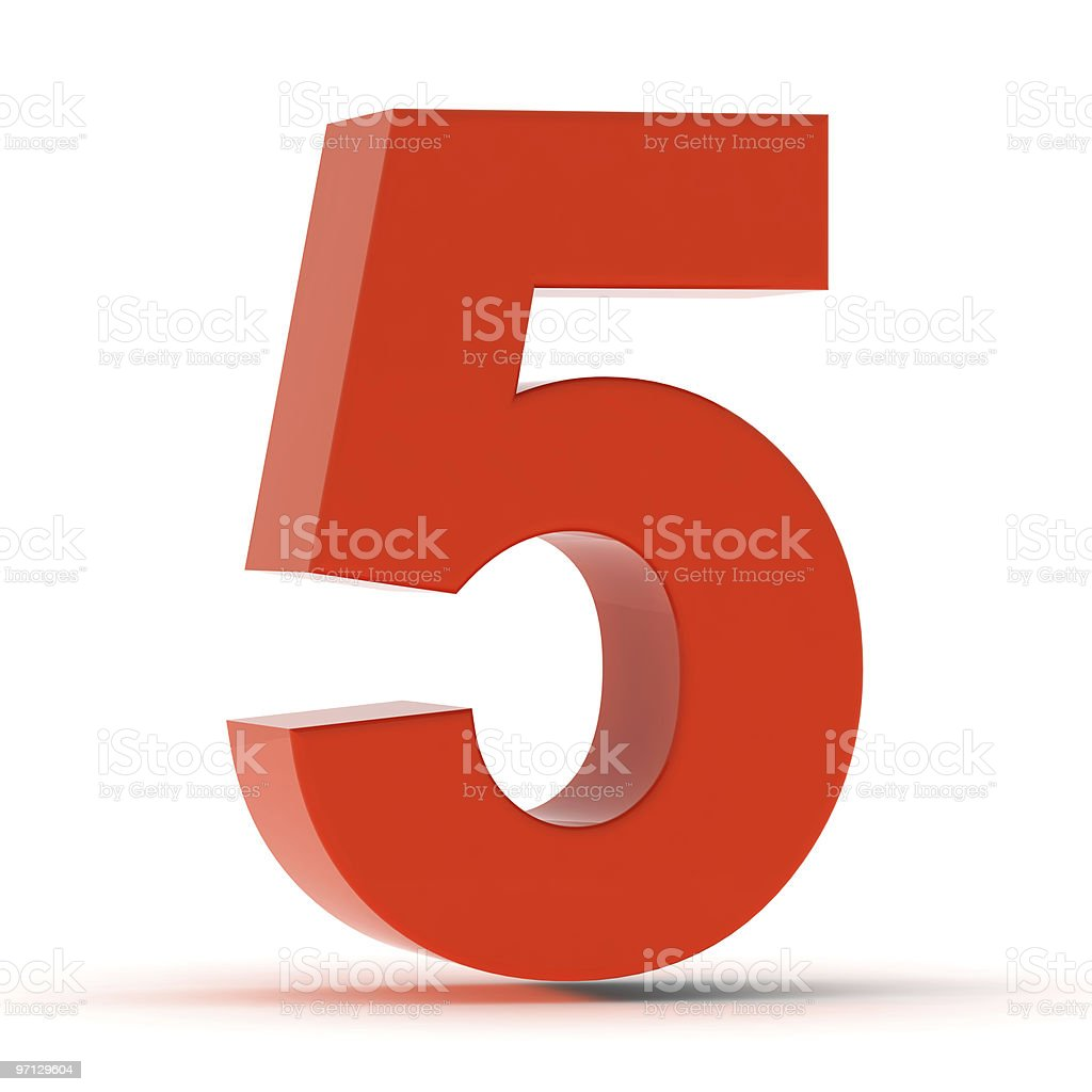The Number 5 - Red Plastic stock photo