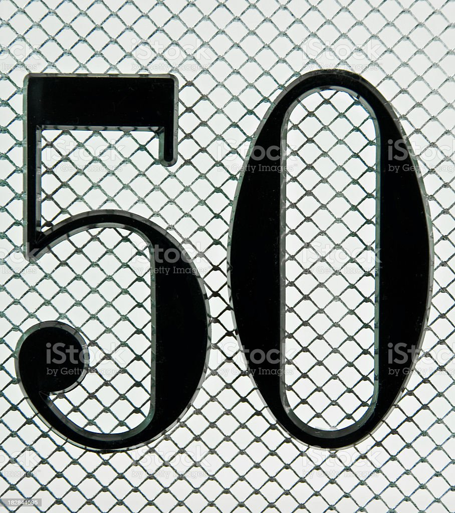 The Number 50 on Mesh stock photo