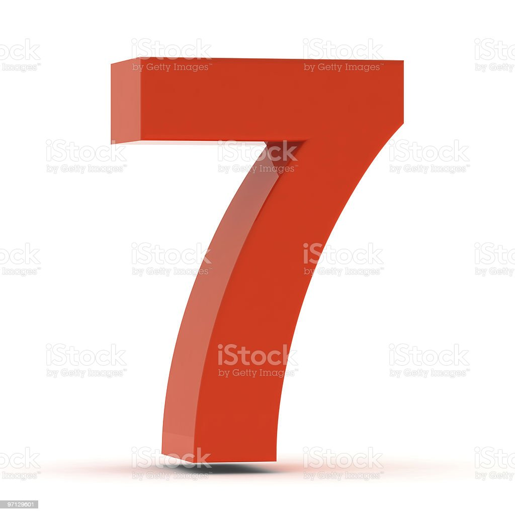The Number 7 - Red Plastic stock photo