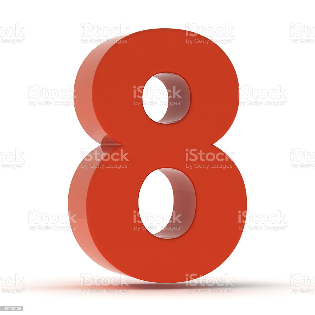 The Number 8 - Red Plastic royalty-free stock photo