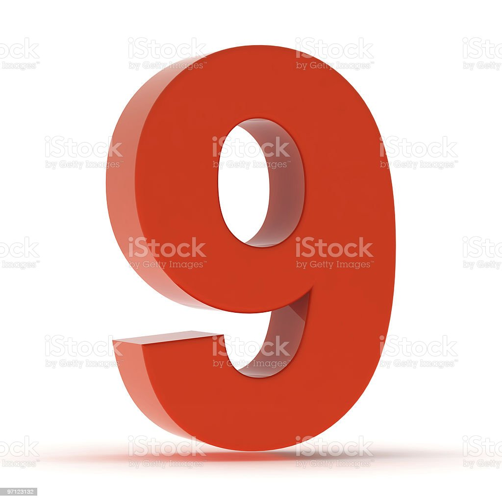 The Number 9 - Red Plastic stock photo