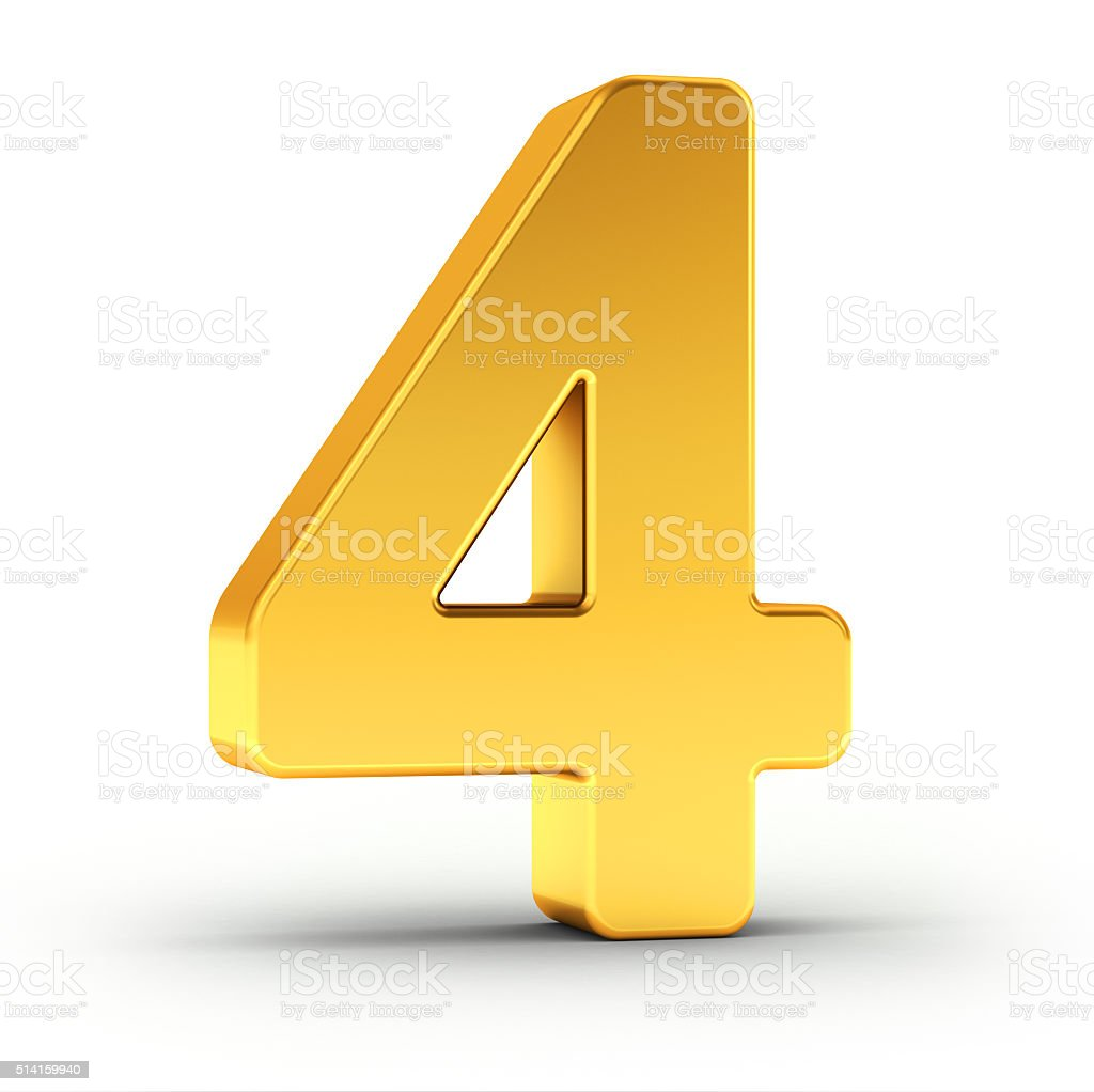 The number four as a polished golden object stock photo