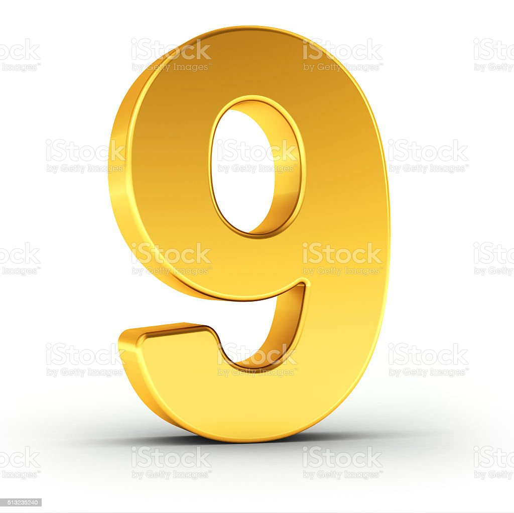 The number nine as a polished golden object stock photo