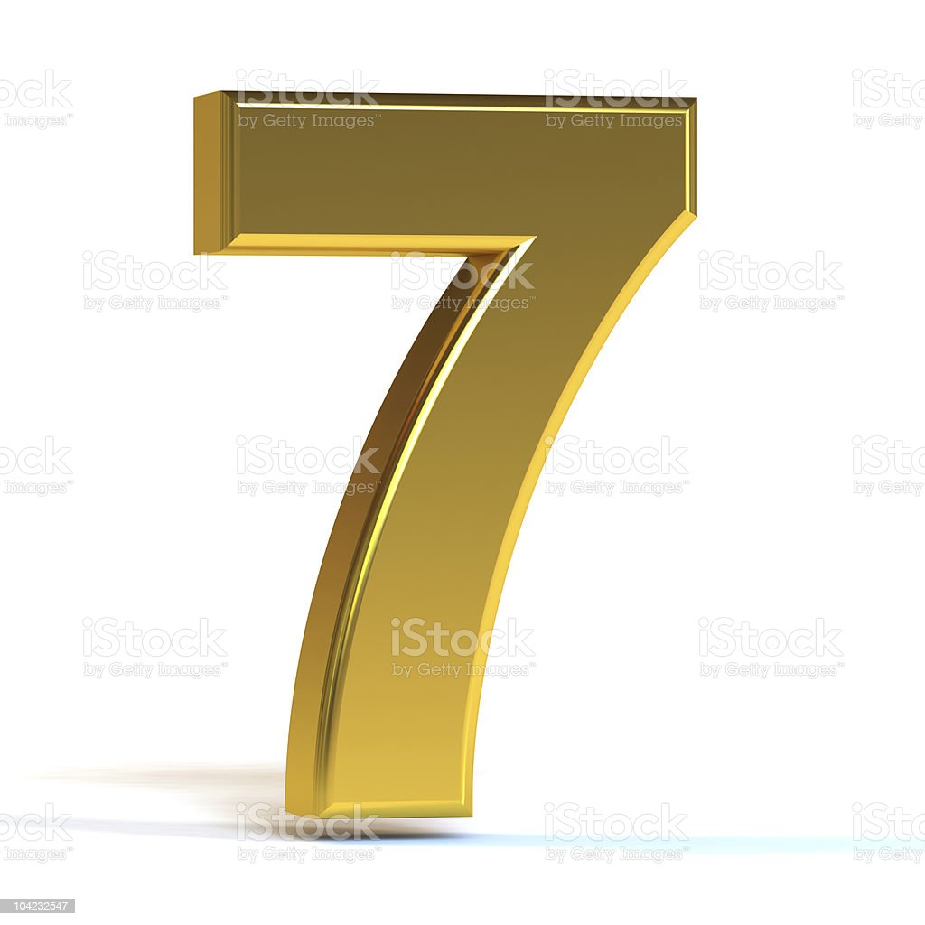 The Number Seven - Gold royalty-free stock photo