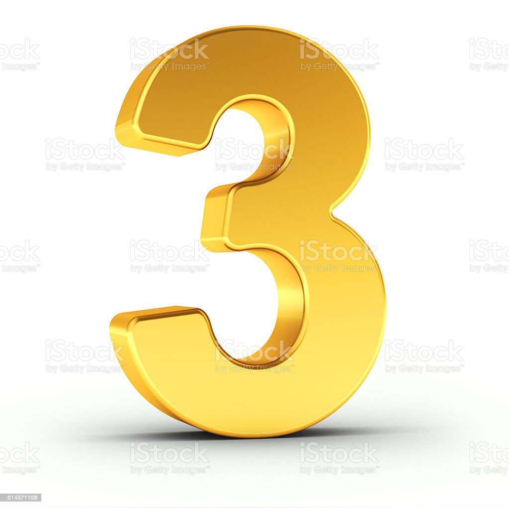 The number three as a polished golden object stock photo