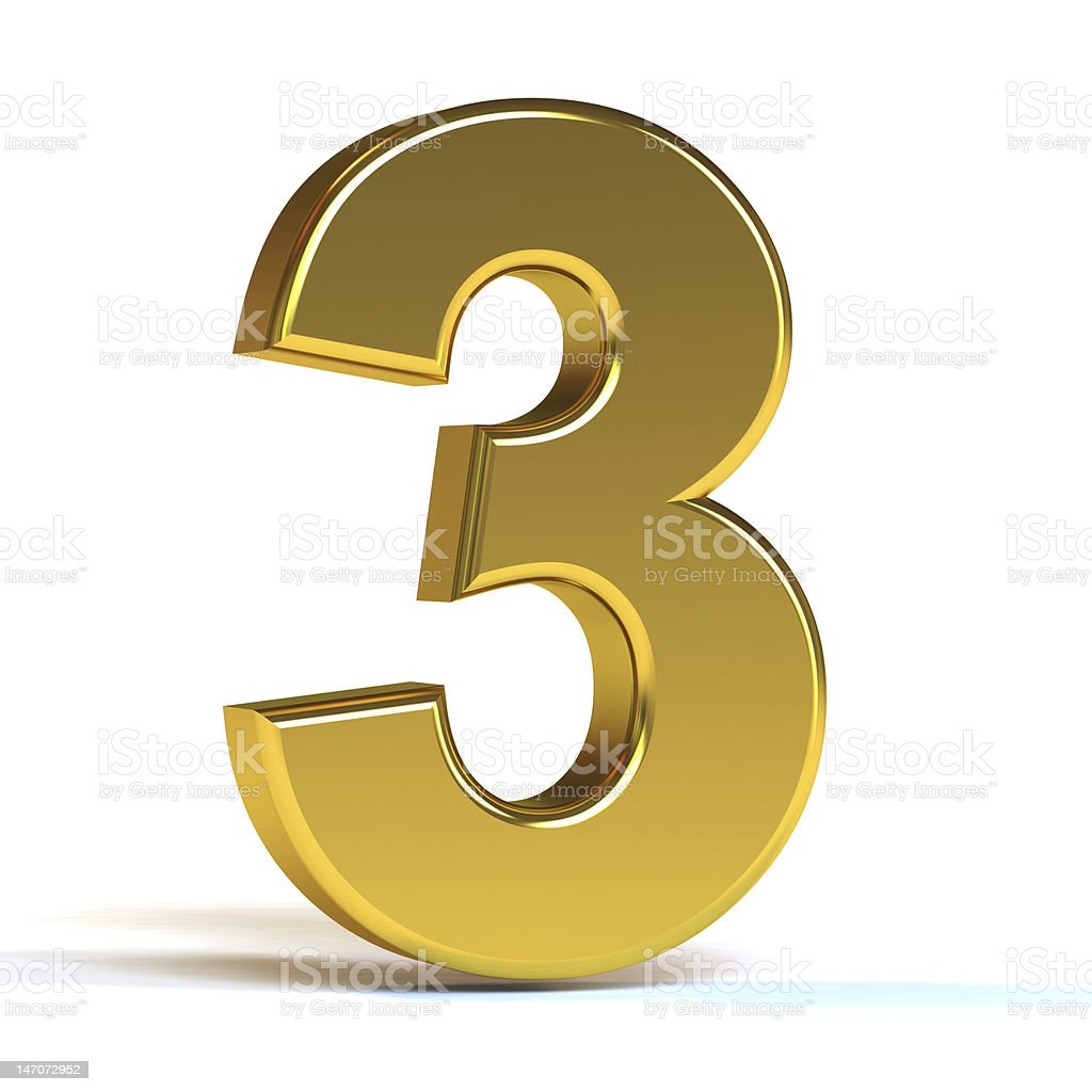 The Number Three - Gold stock photo