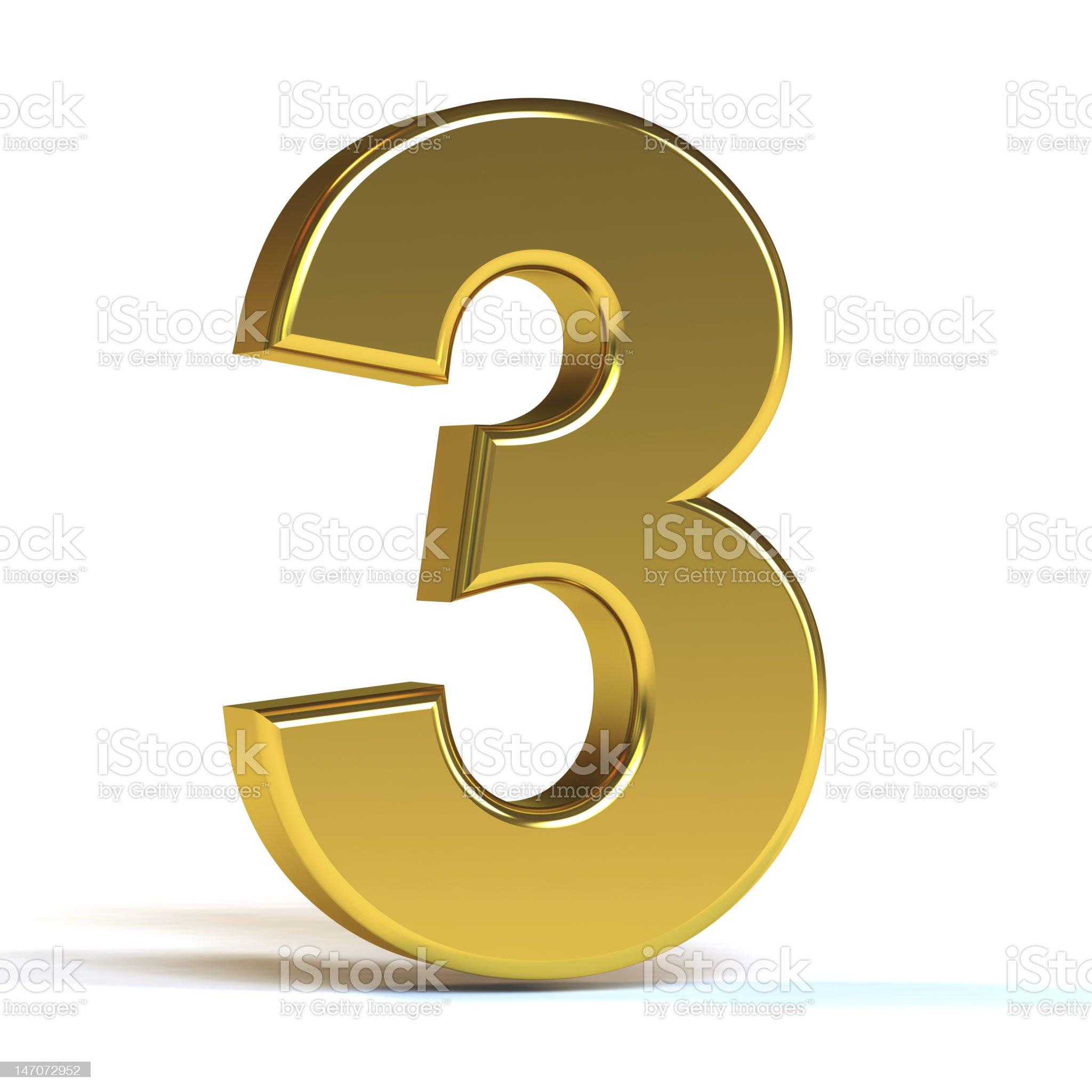 The Number Three - Gold royalty-free stock photo