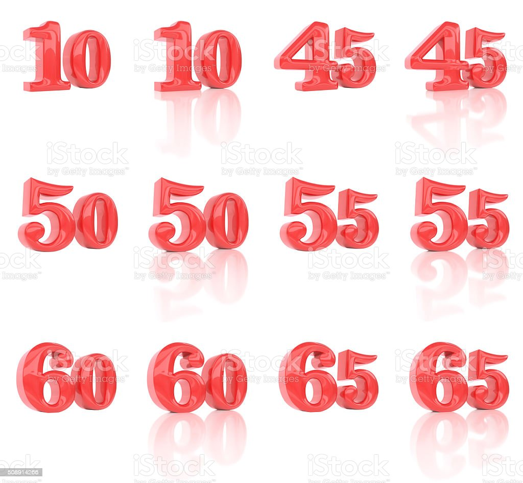 The numbers in the three-dimensional image 10 to 65 stock photo