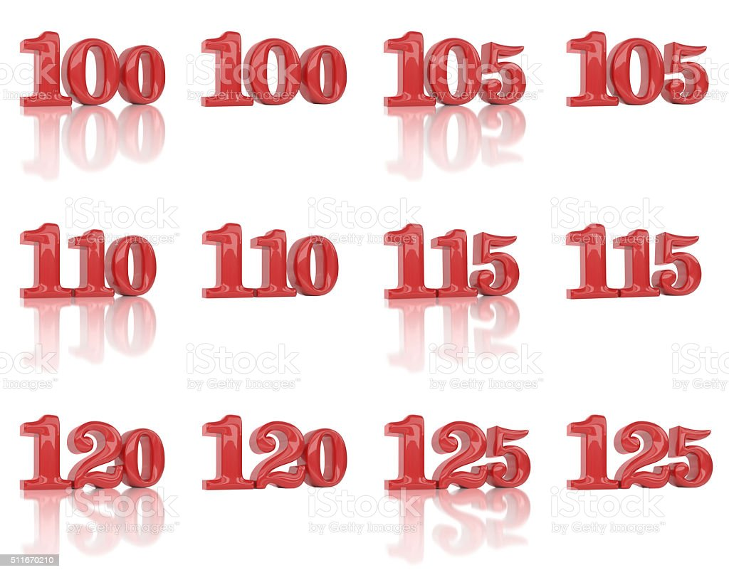The numbers in the three-dimensional image 100 to 125 stock photo