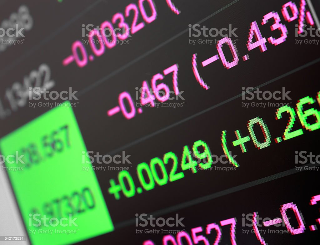 The numbers on the screen stock photo