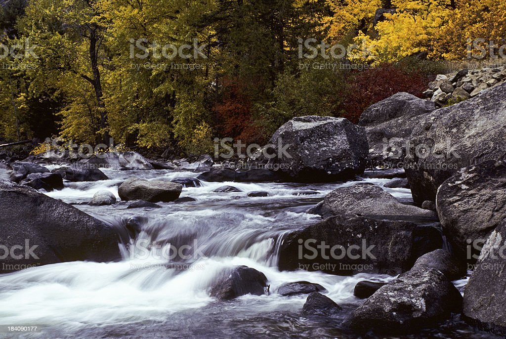 Fall Colors on the Icicle River stock photo