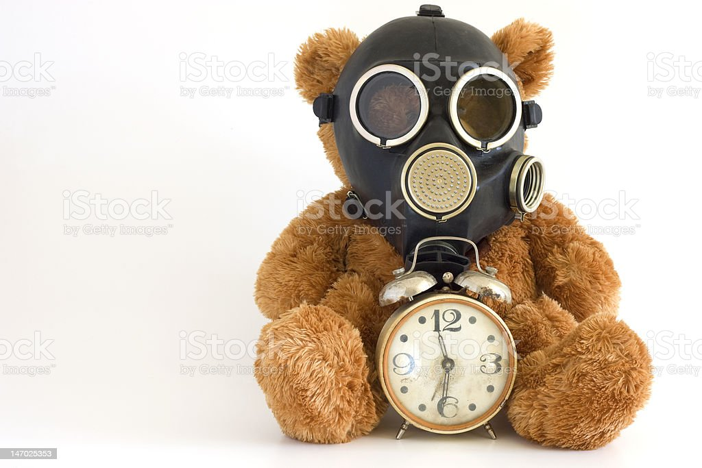 The Nursery toy in gas mask. royalty-free stock photo