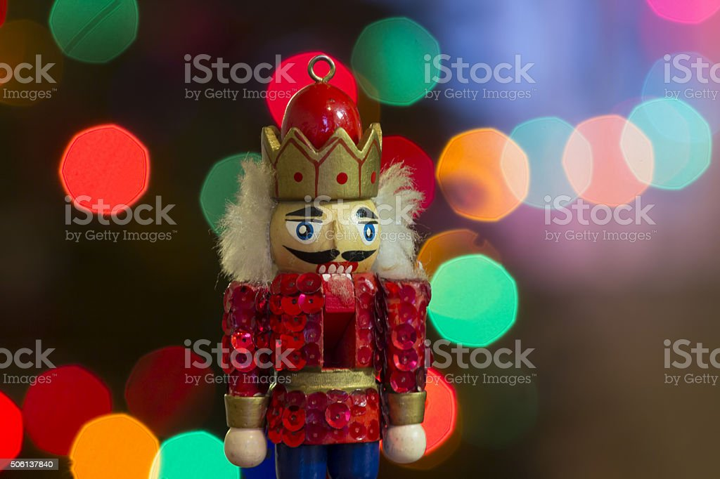 the nutcracker christmas decoration close up stock photo