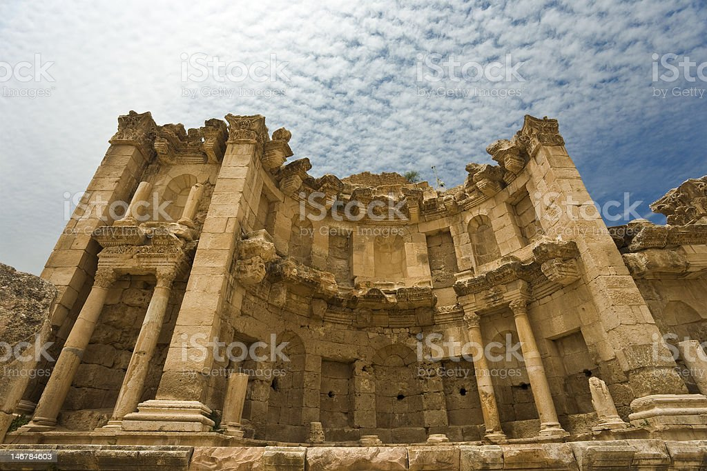 The Nymphaeum in Jerash stock photo