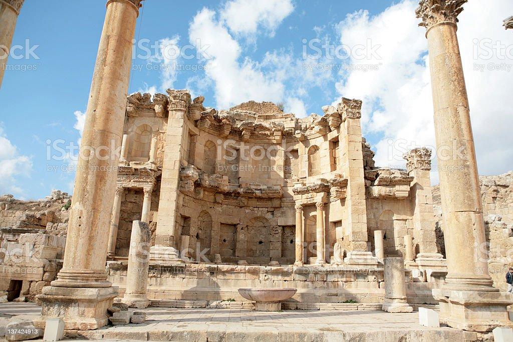 The Nymphaeum of Jerash stock photo