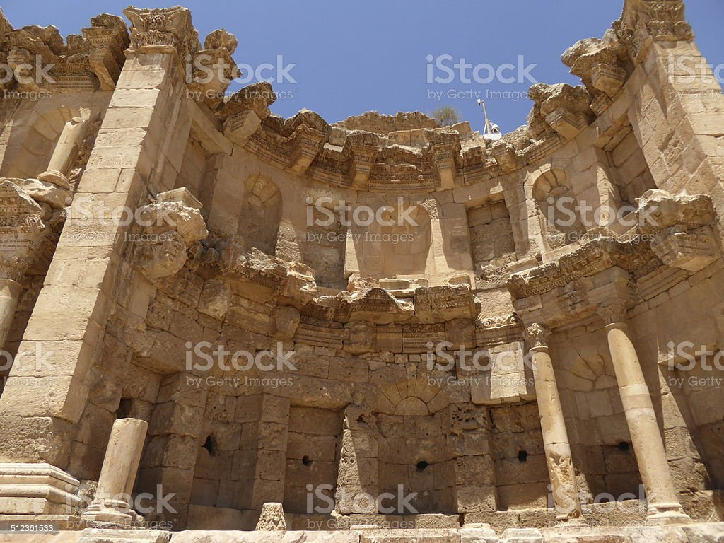 The nymphaeum of Jerash stock photo