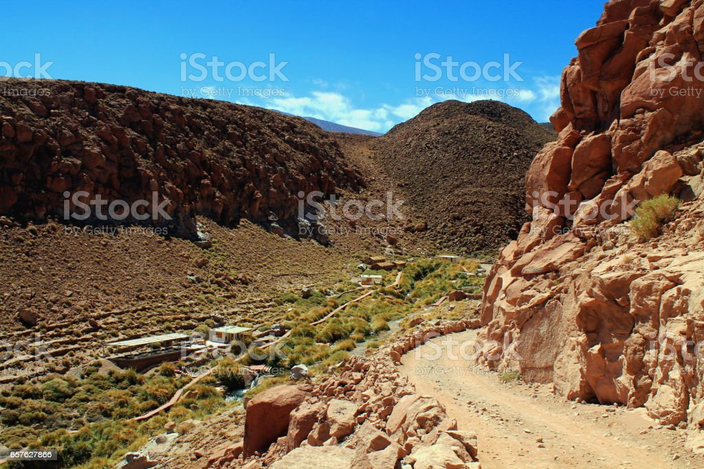 the oasis of the thermal springs of puritama in the atacama desert stock photo