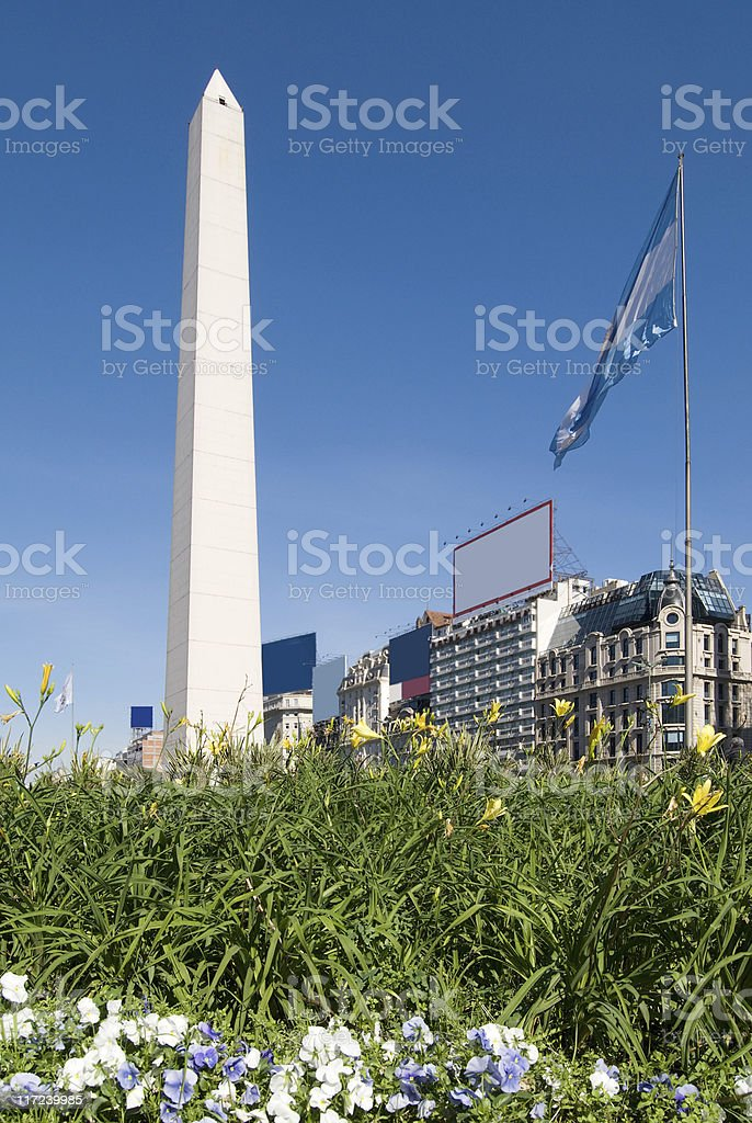 The Obelisk a major touristic destination in Buenos Aires, Argentina stock photo