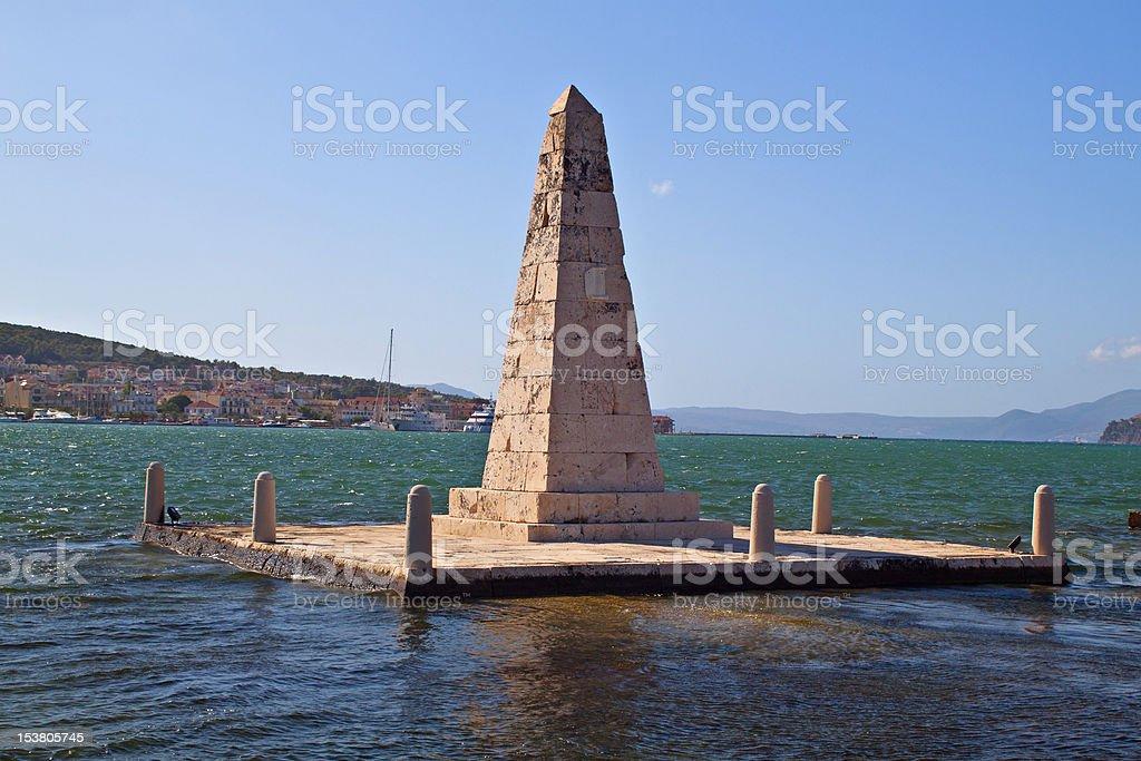 The Obelisk of Argostoli city at Kefalonia island in Greece stock photo