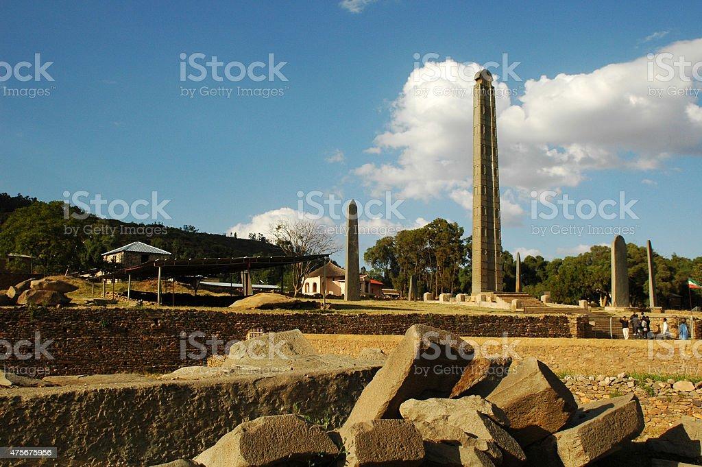 The Obelisk of Axum in Ethiopia stock photo