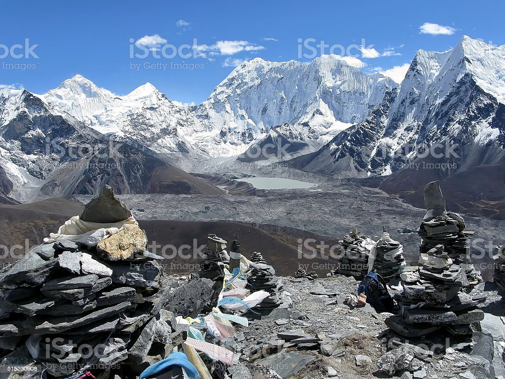 the observation deck near Mount Makalu stock photo