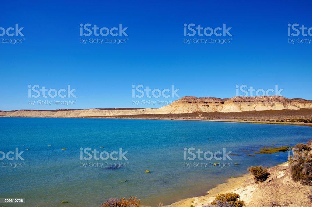 The ocean in front of Cerro Avanzado stock photo
