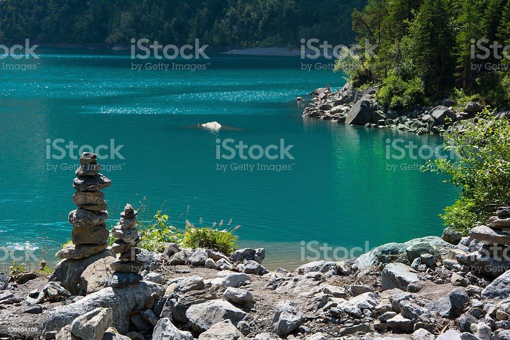 The Oeschinensee lake in Switzerland stock photo